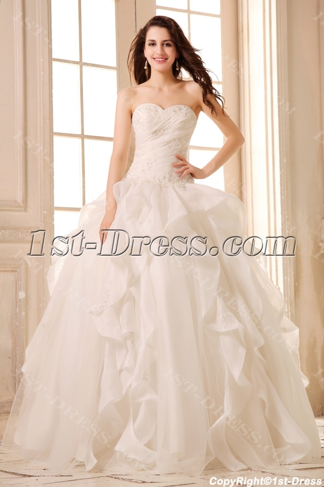 Romantic ivory beaded sweetheart ruffled ball gown wedding for Ivory beaded wedding dress