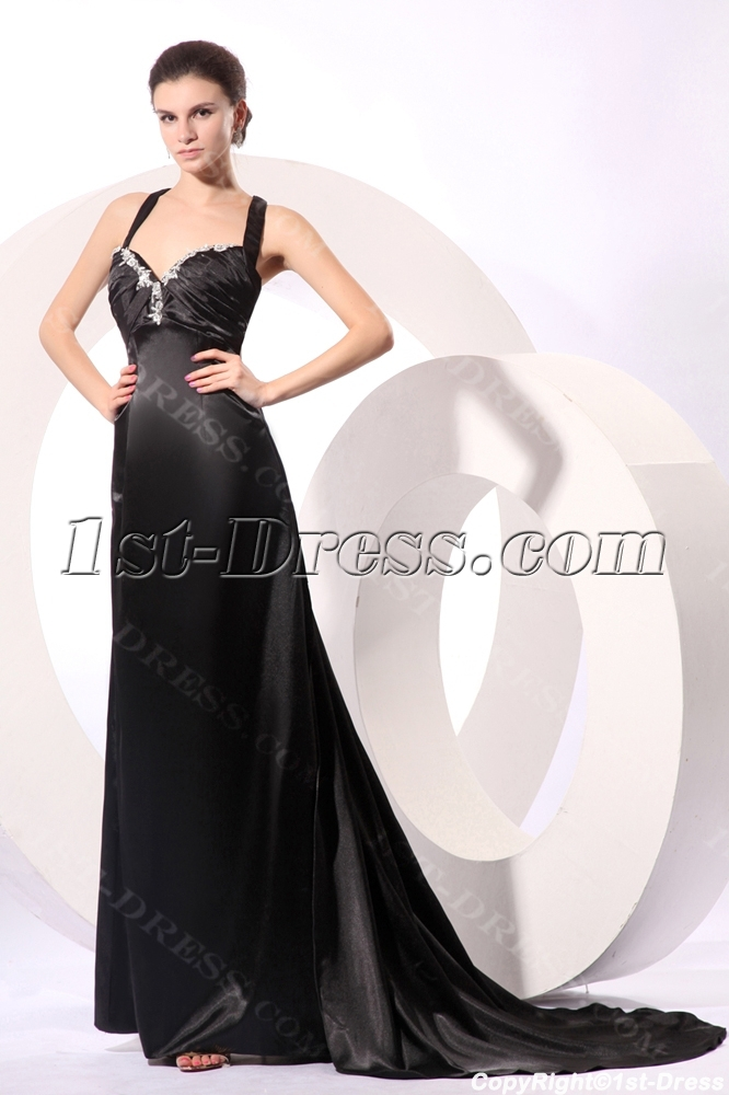 8d6675bf8efca Sexy Black Long Formal Plus Size Prom Dress with Criss-cross 1st ...