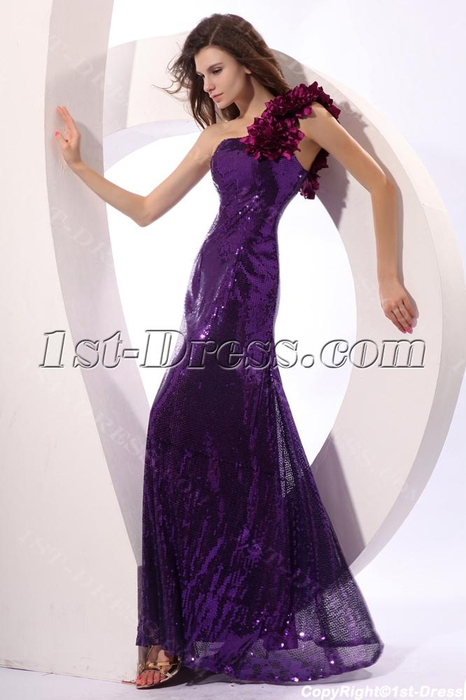 Shimmer Purple Sequins One Shoulder Prom Dresses:1st-dress.com