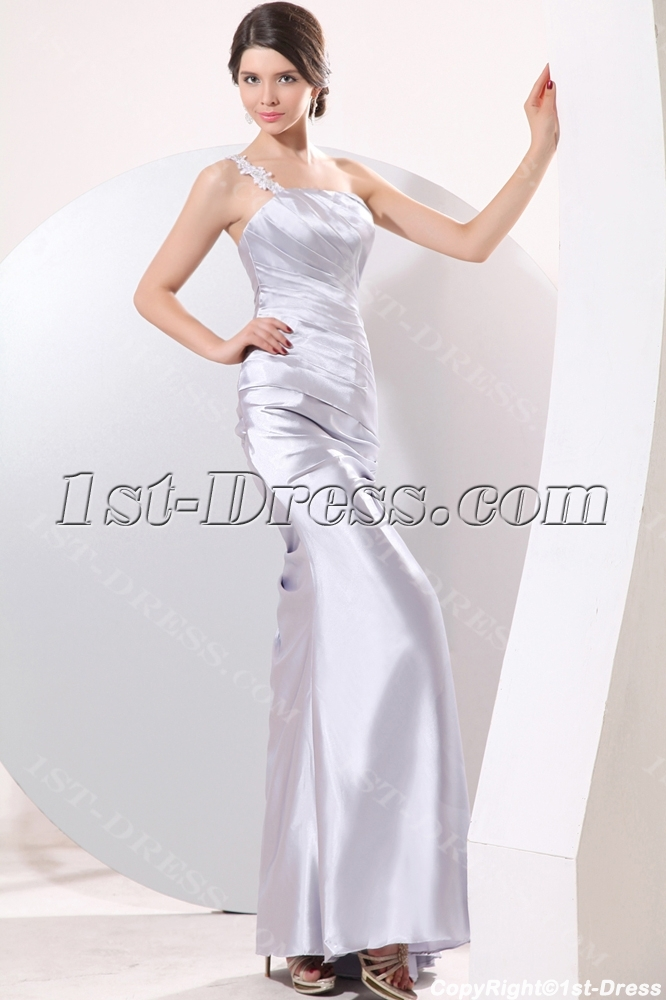 ea18d181abe silver satin ankle length pretty prom gown with one shoulder free shipping.
