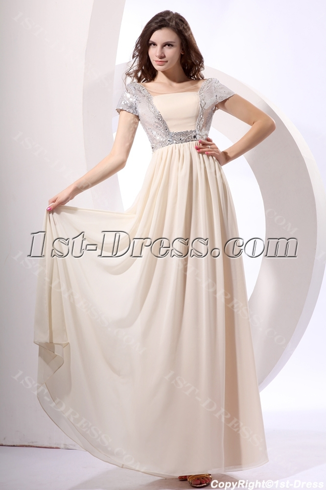 Silver Sequins Long Chiffon Modest Prom Dress with Short Sleeves:1st ...