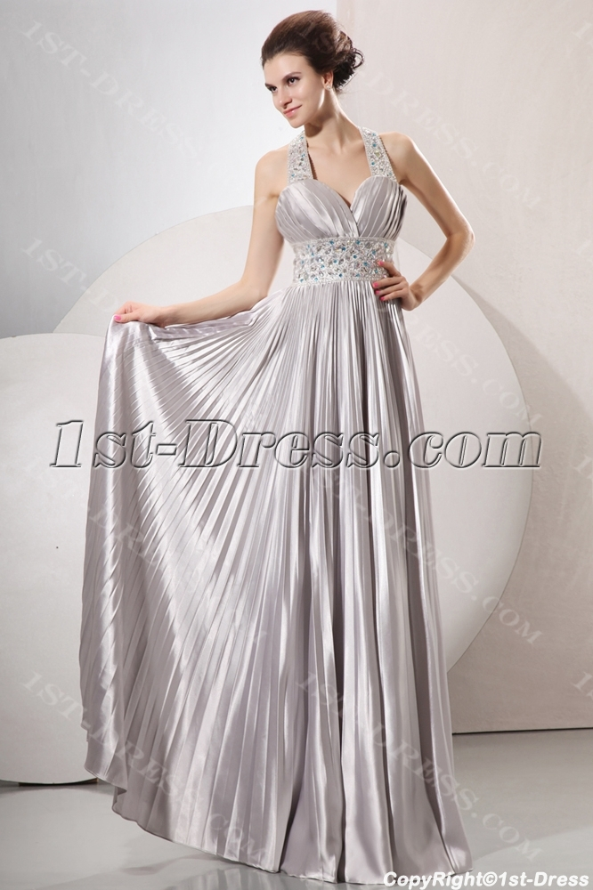 Sophisticated Beaded Halter Silver Plus Size Informal Prom Gowns $204.00