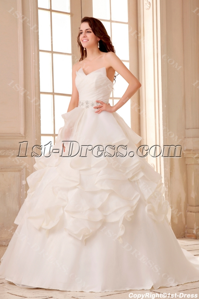 Spectacular ruffled ball gown wedding dress with train 1st for Ruffle ball gown wedding dress