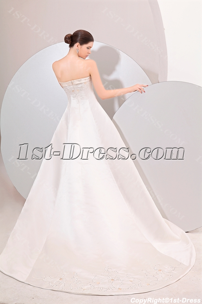 Western Wedding Dresses.Strapless Satin A Line Long Classical Western Wedding Gown