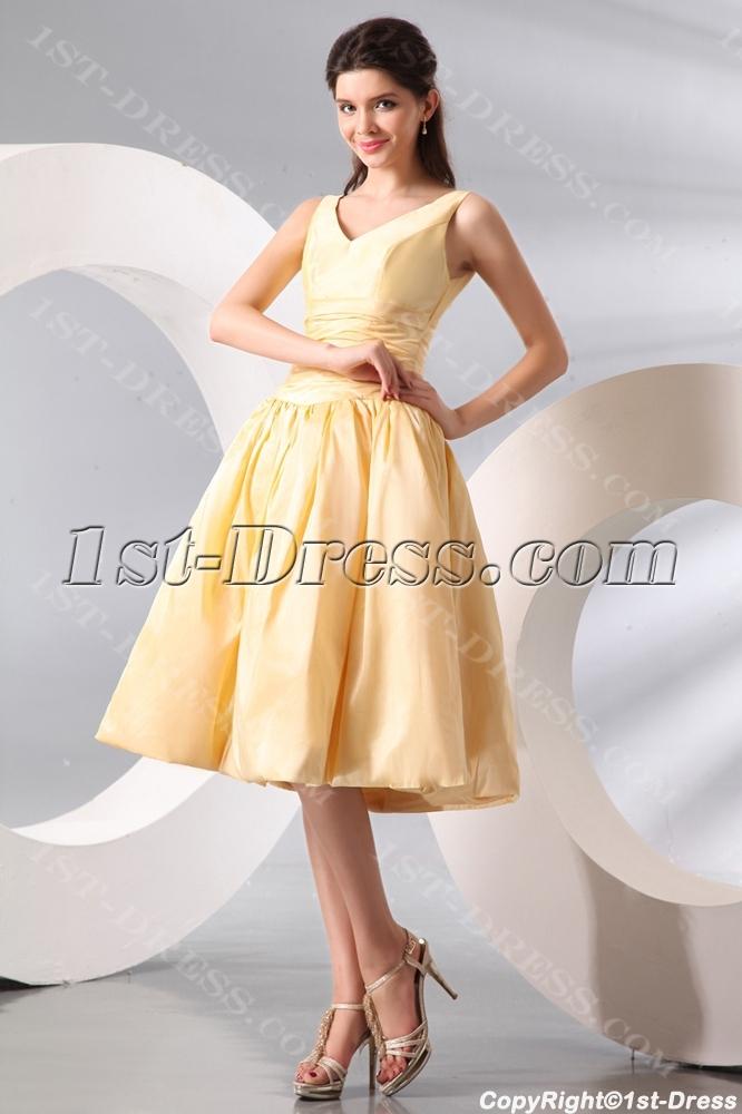 7a2e0bc38 Vintage Champagne A-line Taffeta Junior Prom Dress:1st-dress.com