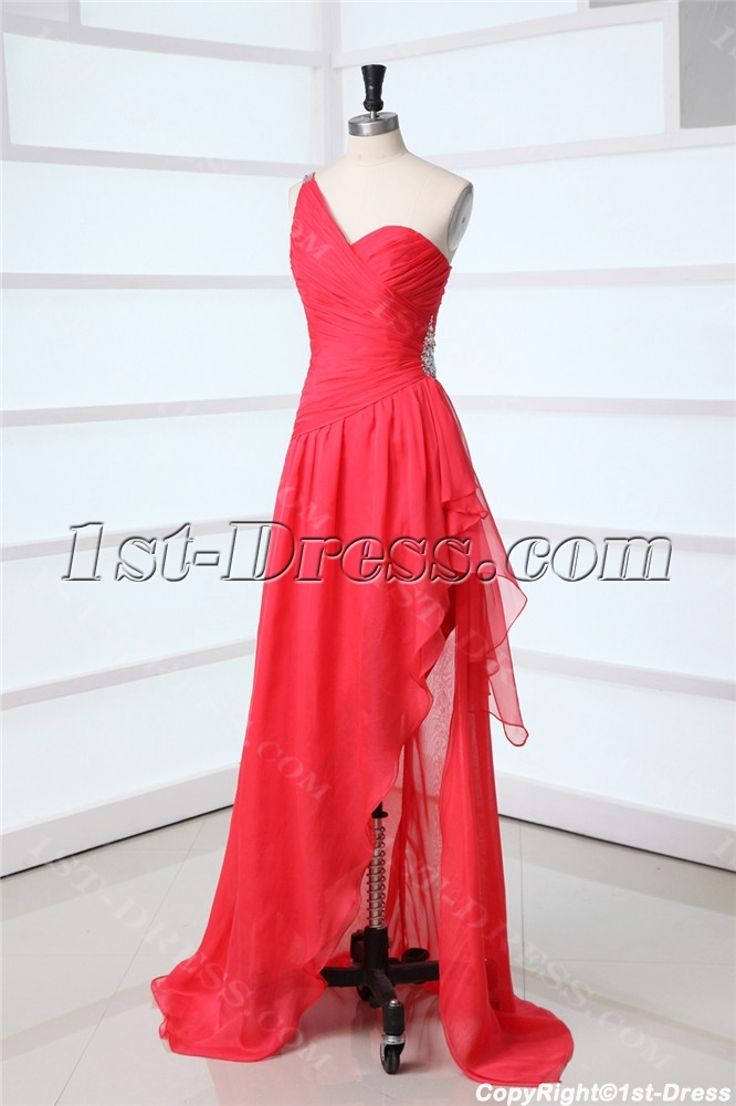 watermelon unique one shoulder prom dress in 20131st