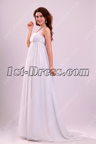 Attractive Halter Chiffon Pregnant Wedding Dress