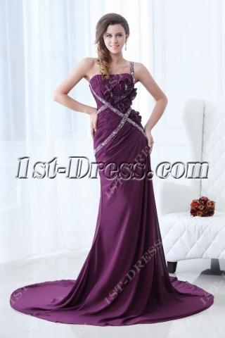 Beautiful Grape One Shoulder Evening Dress Sheath