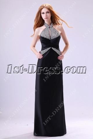Black High Neckline Chi-pao Evening Dress