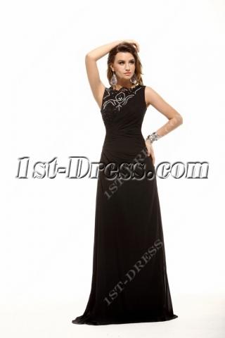 Black Modest A-line Long Prom Dress for Spring