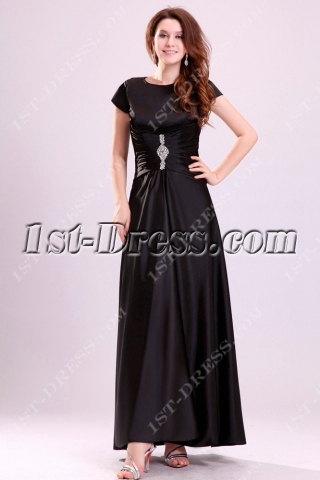 Black Short Sleeves Ankle Length Mother of Groom Party Dress
