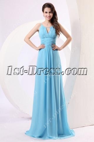 Blue Spaghetti Straps Chiffon Military Prom Dress