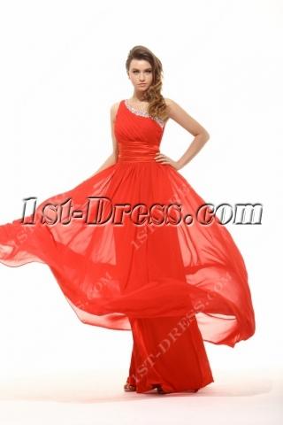 Brillian One Shoulder Red Long Prom Dress