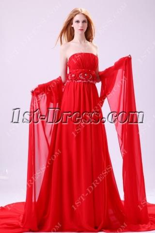 Brilliant Red Detachable Train Prom Dress 2014