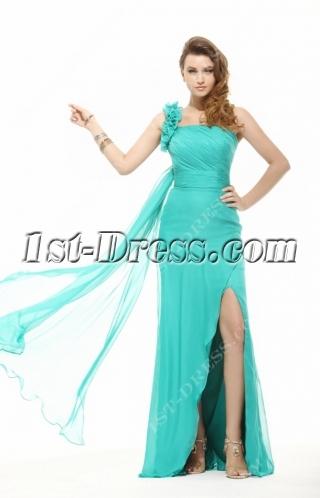 Brilliant Teal Blue Sexy One Shoulder 2014 Evening Dress