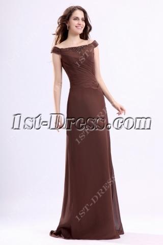 Brown Off Shoulder Mother of Groom Dress