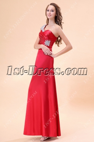 Burgundy Cap Sleeves One Shoulder Ankle Length Evening Dress 2013