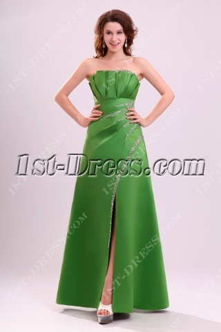 Charming Green A-line Evening Dress with Slit Front