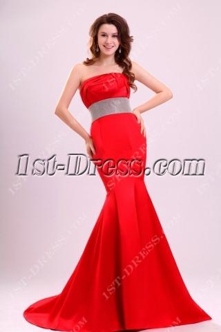 Charming Red Sheath Short Train Celebrity Dresses