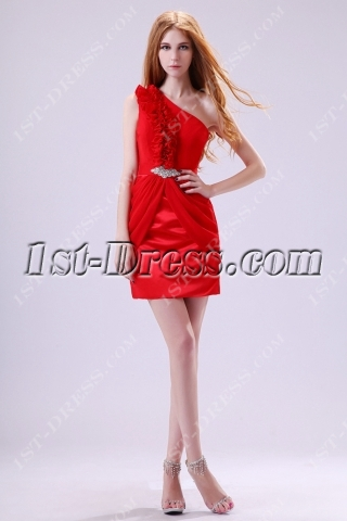 Chic Chiffon Red One Shoulder Homecoming Dress