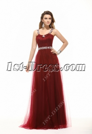 Chic Hot Burgundy Long Plus Size Prom Dress