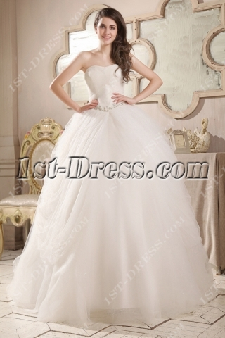 Cinderella Tulle Sweetheart Ball Gown Wedding Dress
