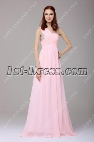Concise Pink Chiffon One Shoulder Graduation Dress