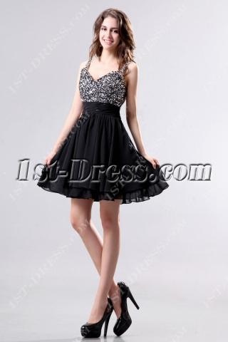 Cute Low Back Little Black Party Dresses