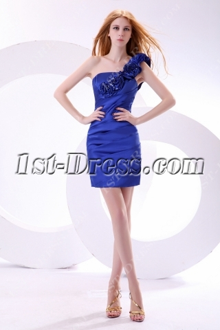 Delicate Royal Blue Mini Cocktail Dress