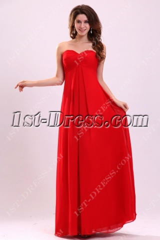 Dramatic Red Chiffon Prom Dress for Plus Size