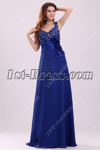 Dramatic Royal Queen Anne Plus Size Mother of Groom Dress