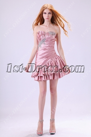Dusty Rose Cute Junior Prom Dresses Short 2013