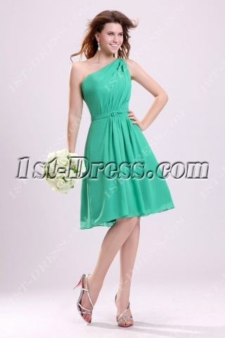 Elegant Green One Shoulder Bridesmaid Gown for Petite Girls