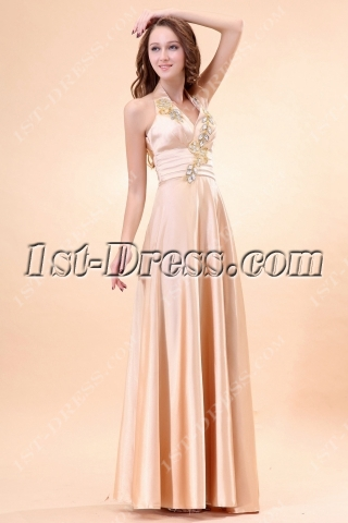 Elegant Halter Champagne Plus Size Evening Gown