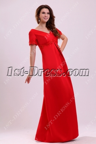 Elegant Modest Satin Short Sleeves Mother of Bride Dress