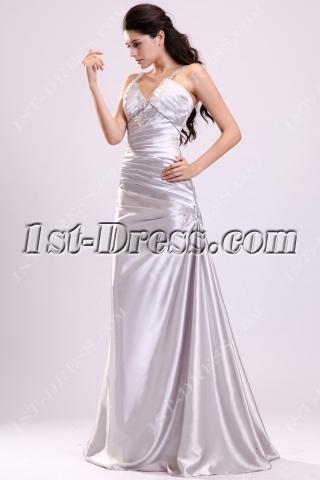 Elegant Pleats Silver Satin 2014 Prom Dress