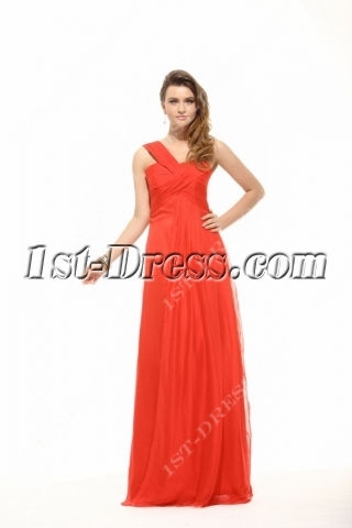 Elegant Red One Shoulder Empire Maternity Evening Dress