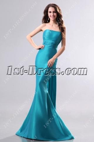 Elegant Teal Blue Long Sheath Evening Dress
