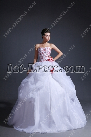 Exquisite 2014 Red Embroidery 15 anos Dresses with Sweetheart