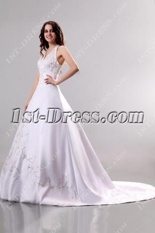 Exquisite Embroidery Halter Princess Wedding Dress