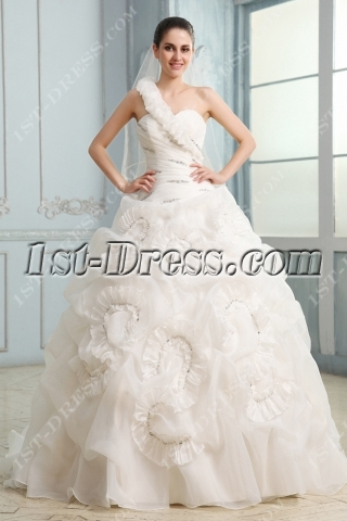 Exquisite Ruched One Shoulder Ball Gown Wedding Dress with One Shoulder