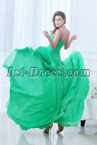 Fancy Green Flowing Sweetheart High-low 2014 Prom Dress