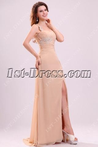 Fantastic One Shoulder Chiffon Cocktail Evening Dress with Slit Front