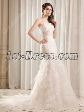Flatter Strapless Long Trumpet Bridal Gown with Train