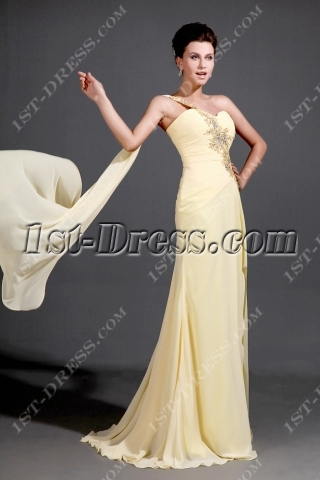Flowing Yellow One Shoulder 2014 Prom Dresses