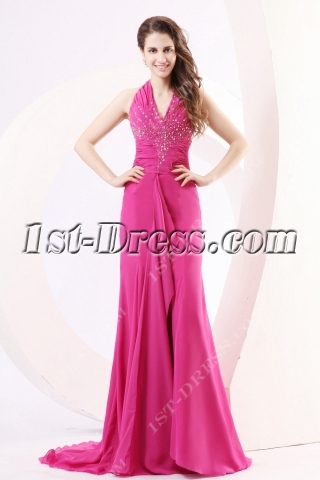 Fuchsia Backless Sexy Prom Dresses with Train