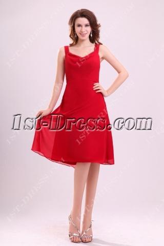 Graceful Burgundy Short Chiffon Mother of Groom Dress
