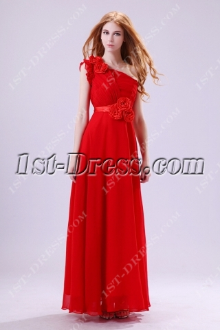 Graceful Red One Shoulder Prom Gown