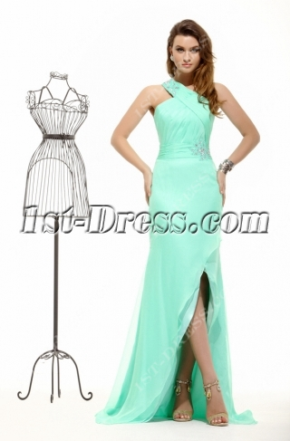 Ice Blue One Shoulder Sexy Evening Dresses