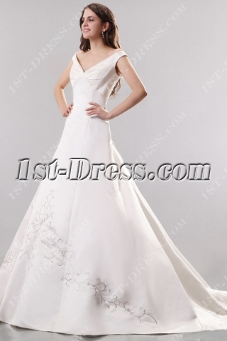 Ivory Off Shoulder Satin Embroidery Wedding Gowns